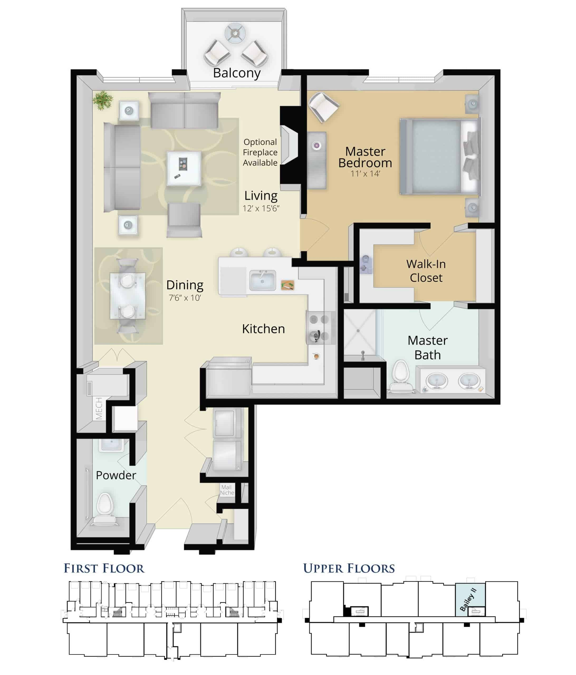 Bailey II One Bedroom Condominium Near Downtown Plymouth