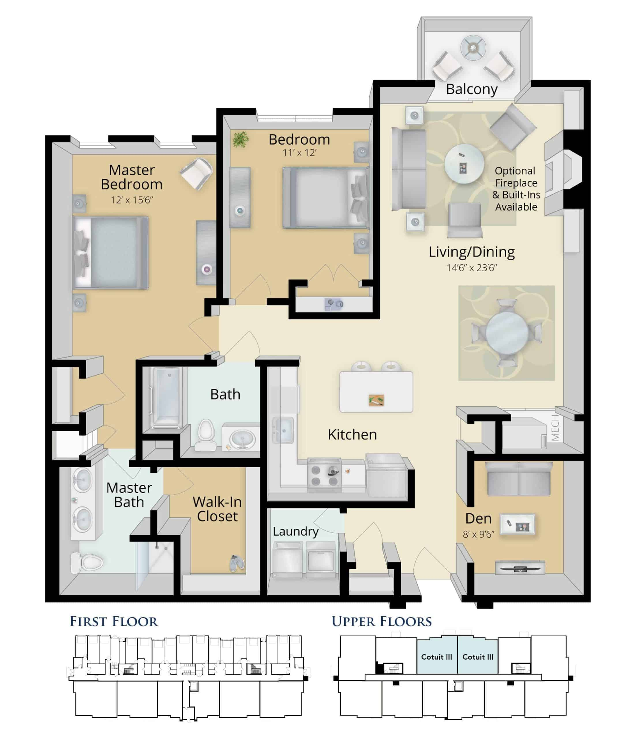 two bedroom floorplan Cotuit3 condo colony place